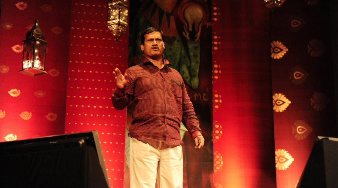 Arunachalam Muruganantham, the inspiration for the film Padman, giving a TED Talk.