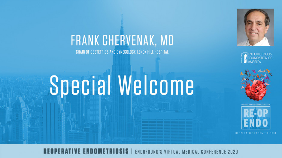 Special Welcome -  Frank Chervenak, MD
